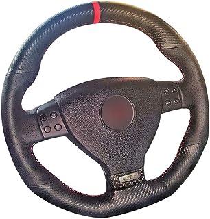 HCDSWSN Fundas para Volante de Coche,para Volkswagen VW Golf 5 Mk5 GTI Golf 5 R32 Passat R GT 2005 Negro PU Fibra de Carbono Marcador Rojo Cubierta del Volante