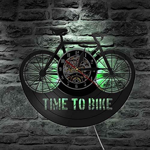 LTOOD tijd om fiets Bikers Inspiratie Quote Home Decor Mountainbike Muur Klok Oude Tijd Fiets Fietser Retro Vinyl Record Wandklok