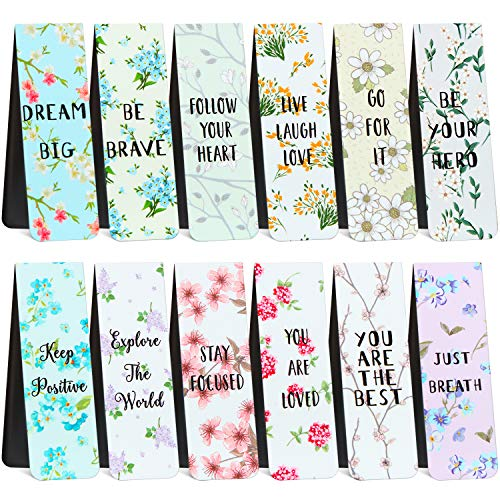 36 Pieces Floral Style Magnetic Bookmarks Inspirational Quotes Bookmarks Flower Poetry Theme Colorful Motivational Bookmarks Positive Magnet Page Marker for Classmates Party Supplies