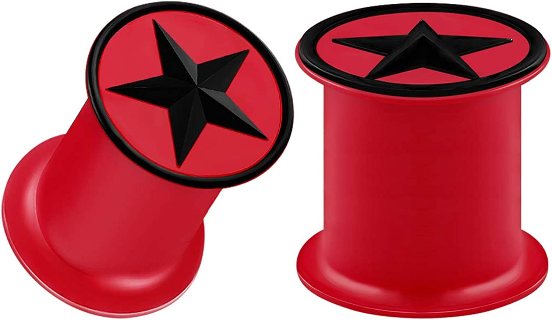 BIG GAUGES Pair of Embossed Red Silicone Black Star Plugs Piercing Jewelry Ear Stretcher Plugs Flesh Earring Lobe