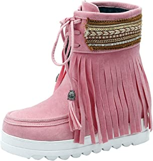👣 HebeTop 👣 Women's Tassel Bootie Waterproof Fringe Hidden Wedge Heel Ankle Boots