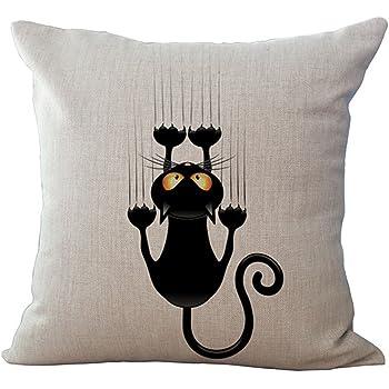 Cojines decorativos, KINIFE Algodón de Lino Funda de Cojín 45cmX45cm para Sofá Cama Gatos Series (Gato 2)