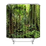 LB Grün Wald Duschvorhang 180x180CM Tropischer Dschungel Duschvorhänge mit Haken,Grüne Blatt Palme Baum Bad Vorhang Polyester Wasserdicht Anti Schimmel Badezimmer Vorhänge
