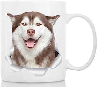 Winston & Bear Taza de Husky Feliz - Taza Perro Husky Siberiano de Cerámica para Café Perro Husky - Divertida y Bonita Taza de Café para Amantes de los Perros