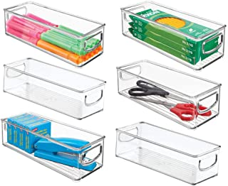 mDesign Plastic Stackable Home Office Storage Organizer Container with Handles for Cabinets, Drawers, Desks, Workspace - BPA Free - for Pens, Pencils, Highlighters, Tape - 10