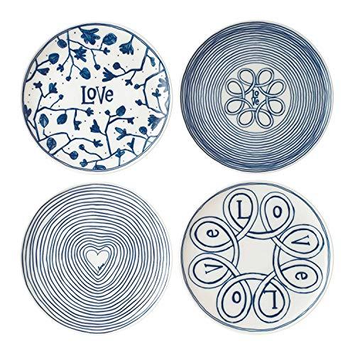 Royal Doulton - Assiettes avec Inscription en Anglais « Love » - Bleu - 16 cm - Lot de 4, Porcelaine, Bleu, 21 cm