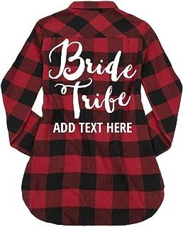 Custom Bride Tribe Bridal Party: Ladies Long Sleeve Plaid Flannel Shirt