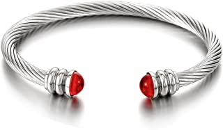 COOLSTEELANDBEYOND Elastic Adjustable Classic Men Stainless Steel Twisted Cable Bangle Bracelet with Red Acrylic Beads