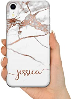 Tullun Personalized Individual Name Initials Text Rose Gold Marble ET Custom Hard Phone Case for iPhone Models - Horizontal Name - for iPhone 5c