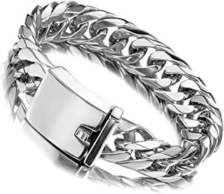 Miami Cuban Link Chain Bracelet 16mm Big Silver White Stainless Steel Curb Bangle for Men