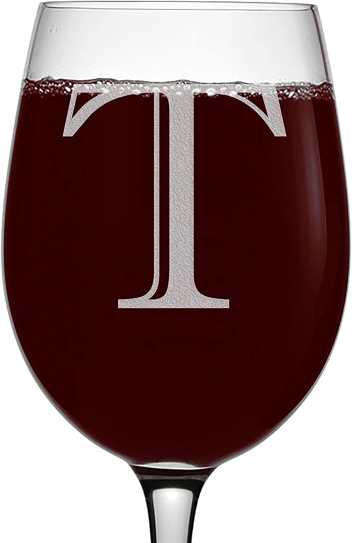 Etched Monogram Max 59% OFF 16oz safety Stemmed Wine Letter Glass T