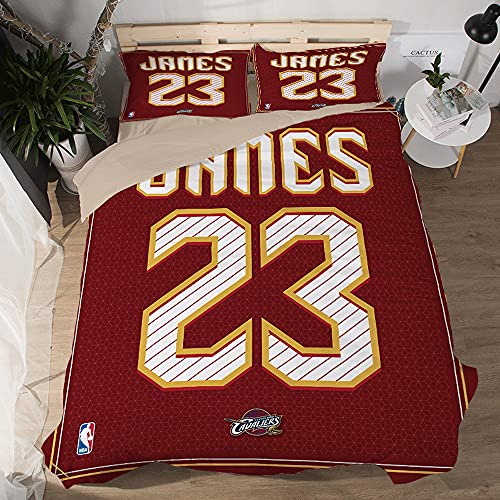 NBA Cleveland Cavaliers King James Funda edredón Suave diseño Jersey Juegos 3 Piezas Funda nórdica Impresa 3D 2 Fundas Almohada Juegos Ropa Cama para fanáticos Baloncesto Decoración habitación niños