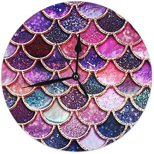 Oh Sweety Pink Sparkle Glitter Meerjungfrau Waage Kreis Wanduhr, ruhige kreative Moderne Wanduhr dekorativ für Zuhause, Büro, Schule, Küche (batteriebetrieben, 9,8 Zoll / 25 cm)