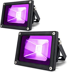 LANFU 2 Pack 10w LED Black Light Blacklight for Fluorescent Neon Glow in The Dark High Power LED Flood Light IP65 with Plug for Party Birthday,Bar,Party Supplies,Neon Glow,Aquarium,Night Club