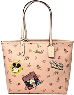 REVERSIBLE CITY ZIP TOTE WITH FLORAL MIX PRINT AND MINNIE MOUSE PATCHES F29359, VINTAGE PINK MULTI/LIGHT GOLD