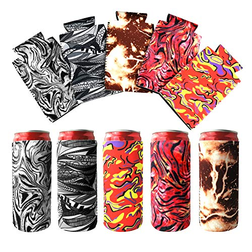 5 Pcs Assorted Blank Beer Can Coolers, Neoprene Drinks Koozies, Can Coozie, Collapsible Insulators Bulk Can Coolies, Compatible for Mich Ultra, White Claws, Trulys (Style 1)