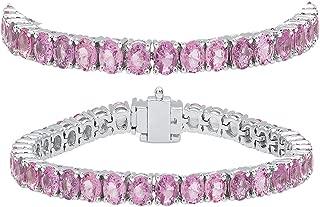 14K Round Cut Real Pink Sapphire Ladies Tennis Bracelet, White Gold
