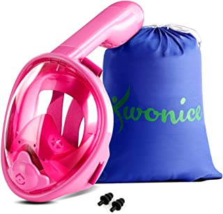 WONICE Snorkel Mask Full Face for Adults and Kids,180°Panoramic View Anti-Fog, Anti-Leak with Adjustable Head Straps,Compatible and Detachable GoPro Snorkeling & Swimming Mask