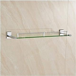 YF-SURINA Étagère de rangement de douche Étagère rectangulaire en verre de salle de bain Étagère de douche chromée à monta...