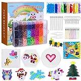 6300 Set di perline da stiro con accessori per piatti Perline con motivo in scatola organizer (5 mm, 24 colori), set di giochi natalizi creativi fai-da-te per bambini