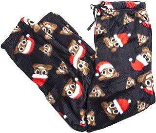 Santa Hat Smiley Poop Emoji Icons Micro Plush Lounge Pants Mens Adult (Large)