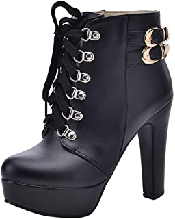 JJHAEVDY Women's High Heel Lace Up Ankle Boots Faux Leather Chunky Heels Motorcycle Cowboy Boots Platform Combats Shoes