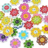 Super1798 - Botones de impresión de flores octogonales, 50 unidades, accesorios de costura para scrapbooking