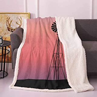 Zara Henry Windmill Christmas Deer Decor, Windmill Silhouette at Dreamlike Sunset Western Ranch Agriculture Theme Plush Throw Blanket (Coral Lilac and Black, 60x70 Inch)