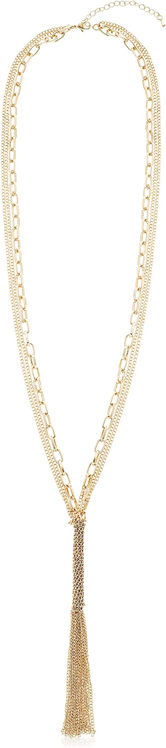 Steve Madden Yellow Gold Plated Layered Tassel Y Necklace for Women