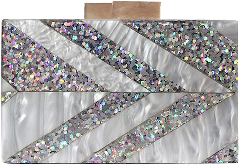 Elegant Woman bag designer evening bag Stripe Patchwork Acrylic luxury party prom Casual Clutch