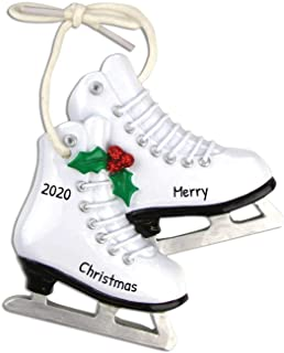 Personalized Figure Skates Christmas Tree Ornament 2020 - White Pair Ice Shoe Peppermint Athlete Duo Coach Dance Hobby Oly...