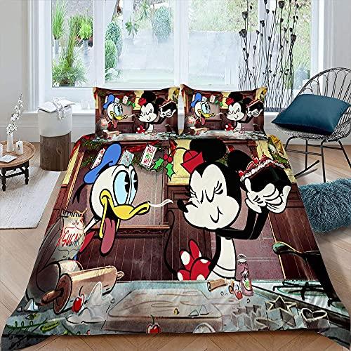Juego de funda de edredón para niños y niñas, juego de cama Mic-key M-inne 1, 2 fundas de almohada, juego de funda de edredón de 3 piezas para niños, diseño de dibujos animados