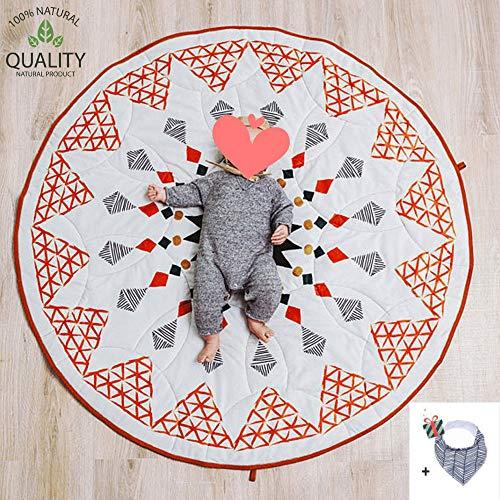 Krabbeldecke für Baby, Morbuy Kinder Schlafbereich Teppich Kuschelige Cartoon Spielmatte Runde Teppich Dekoration für Kinderzimmer Crawl Spielmatte Weißes Grünes Rot (Marokko)