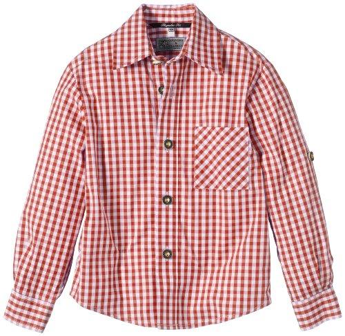 G.O.L. Jungen Hemd Trachtenhemd, Vichy-Karo, Gr. 128, Rot (rot/weiß 7)