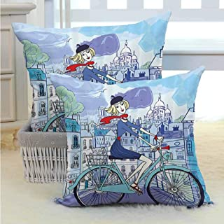 SEMZUXCVO Paris Couple Pillowcase Young Woman with French Hat and Funny Cat on Bicycle in Paris Street Watercolor Soft and Breathable W14 x L14 inch Multicolor