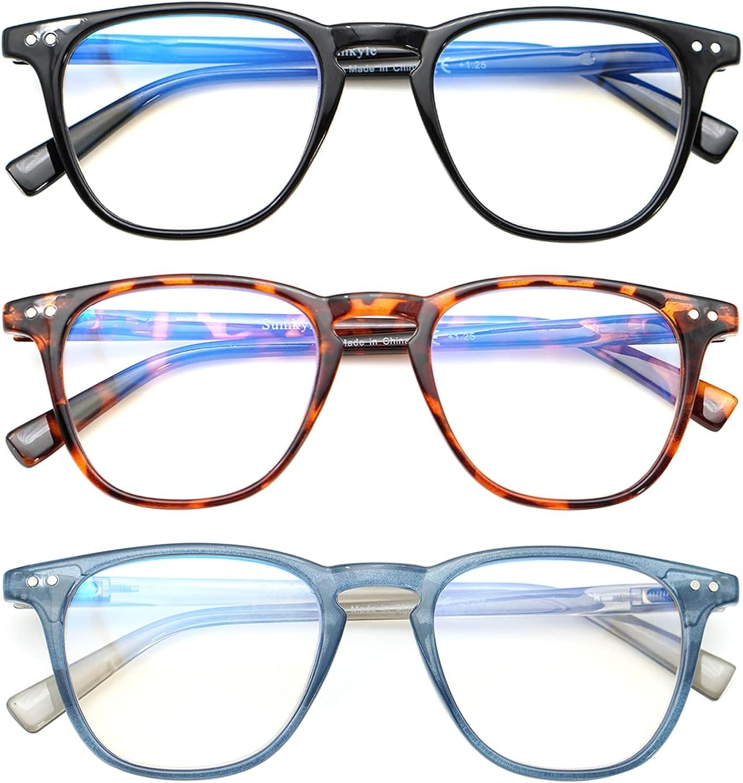 Computer Reading Glasses 3 Pack Blue Light Blocking Glasses Spri