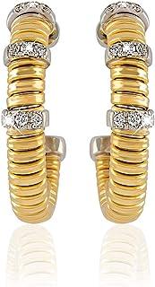 AL Liali Jewellery Women's Tessitore Earrings, 0.18 Carat, Yellow