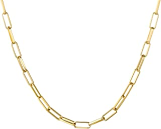 14K Gold Plated Dainty Paperclip Link Chain Necklace for Women Girls