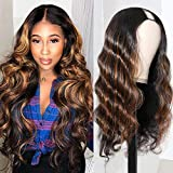 UNice Ombre Highlight U Part Wig Human Hair Body Wave for Black Women Middle Part, Brazilian Virgin Hair Glueless Full Head U Shape Clips in Half Wig 150% Density 24inch