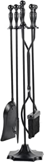 Pinty 5 Pieces Rustic Fireplace Tools Set Firepit Fire Place Pit Wrought Iron Tool Set Poker Wood Stove Log Tongs Holder Tools Kit Sets Fireplaces Hearth Decoration Accessories