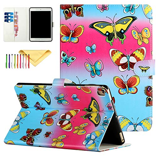 Uliking Protective Case for iPad 6th, 5th Gen/iPad Pro 9.7 / iPad Air 2, 1, PU Leather Wallet Folio Pattern Design Case Protective with Card Slots & Stand Feature, Color Butterflies