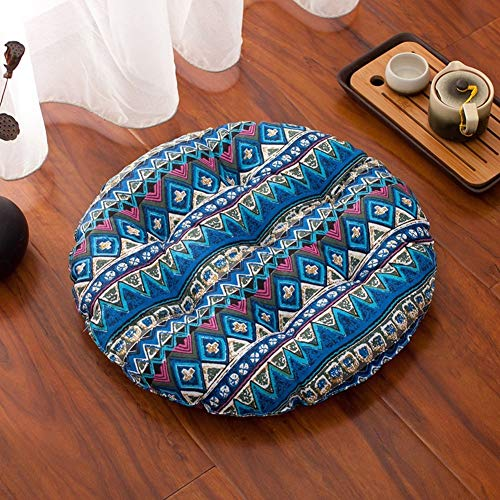 Lefran Round Thick Seat Cushions,Tatami Floor Cushions,Cotton Printed Chair Pad Floor Pillow Washable For Patio Dining J Diameter68cm(27inch)