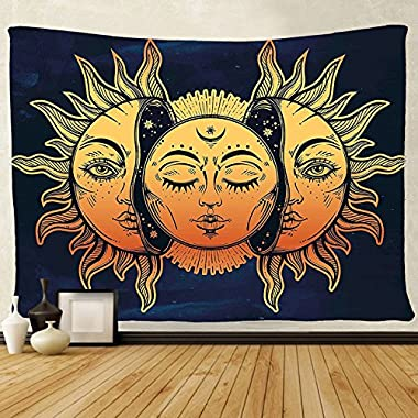 tenaly Tapestry Wall Hanging, sun and moon Psychedelic Big Wall Tapestry with Art chakra Home Decorations for Bedroom Dorm Decor in 59x79 Inches