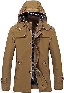 Mogogo Men's Removable Hood Windproof Insulated Texture Overcoat
