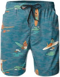 Lixinli Men's Summer Surfing Beach Pattern Quick Dry Beach Shorts