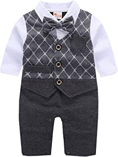 ALLAIBB Baby Boys Long Sleeve Formal Outfit One Piece Tuxedo Gentleman Romper Size 18M (Gray)