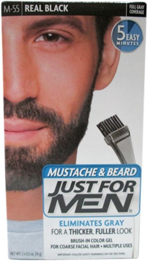 Gel de color negro real para bigote y barba #M-55 de Just for Men (paquete con dos unidades)