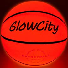 GlowCity LED Light-Up Basketball – Size 6, 28.5-inch, Official Size Women's Basketball, Good for Pre-Teens Too – Impact Activated Glow-in-The-Dark, Nylon Wound Durability, Batteries Included