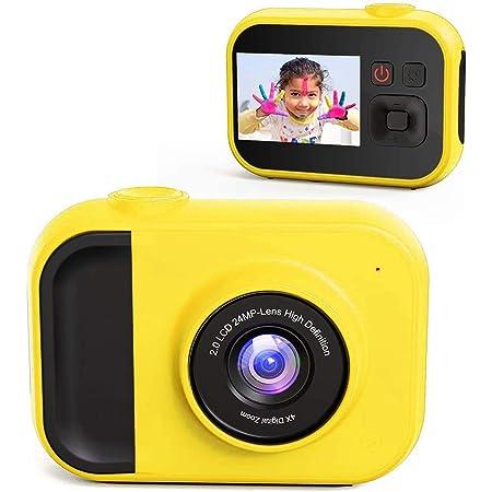 日本発送 リアドベント キッズカメラ SDカード付き 2.0インチ ゲーム内蔵 静止画 動画 撮影 レッド グリーン イエロー おもちゃ プレゼント ギフト (イエロー)