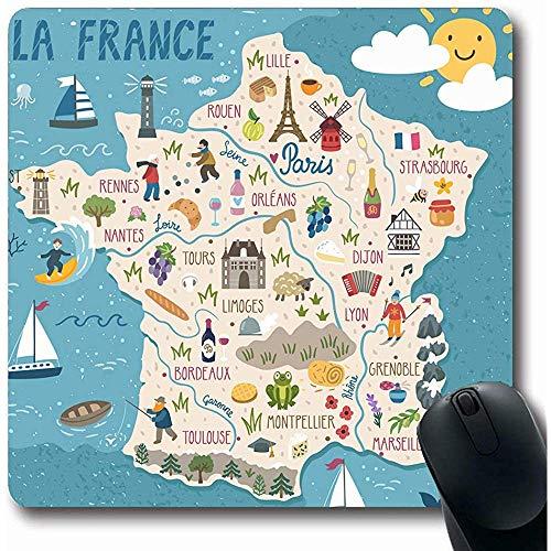 Alfombrillas Región Vino Mapa Francia Viajes Naturaleza Verano Comida Francesa Europa Ciudad Turismo Forma Oblonga 18X22Cm Alfombrilla Antideslizante para Juegos